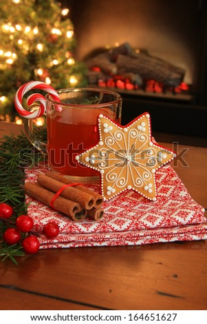 Christmas cookie and hot apple cider by the fireplace. Also available in horizontal. - stock photo