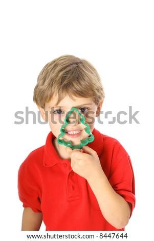 christmas cookie peek a boo - stock photo