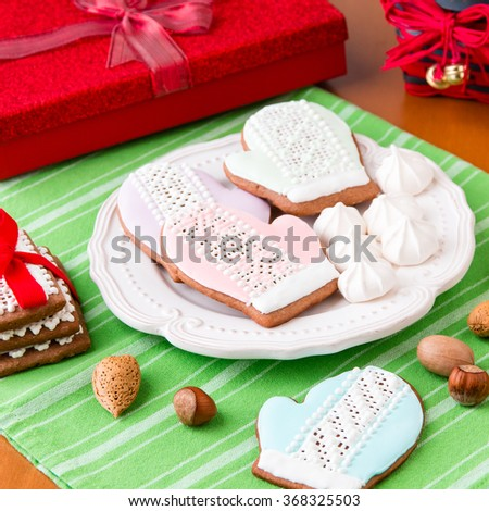 Christmas cookies and gifts - stock photo
