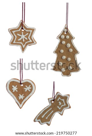 Christmas Cookies, Decorated Ginger Breads, Hanging, Isolated on white - stock photo