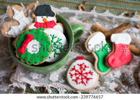 Christmas cookies (focusing on cookies inside a cup) - stock photo
