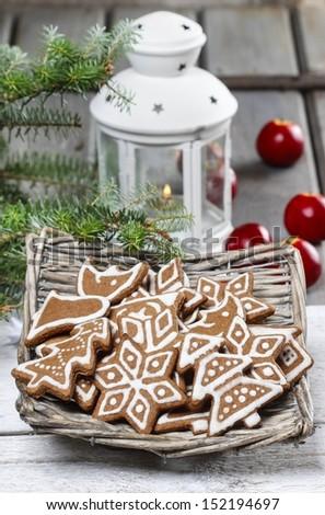 Christmas cookies in wicker basket. Selective focus - stock photo