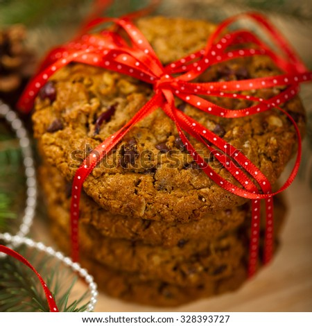 Christmas cookies. Macro with shallow dof. Selective focus. - stock photo