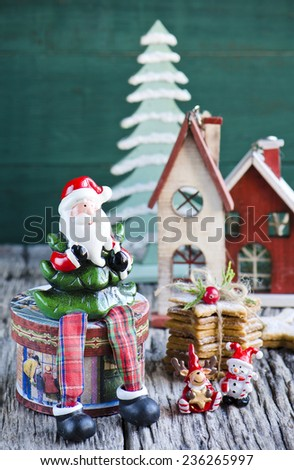 Christmas cookies on a festive blue background - stock photo