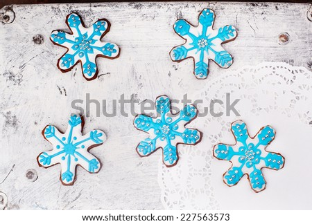 Christmas cookies on a white background vintage - stock photo