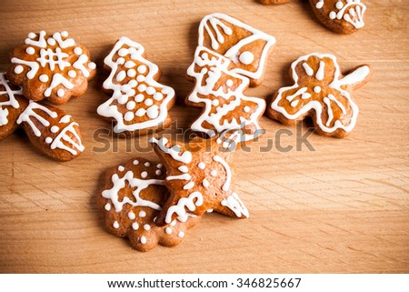Christmas cookies on a wooden table - stock photo