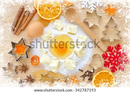 Christmas cookies preparation. Christmas holidays concept - stock photo