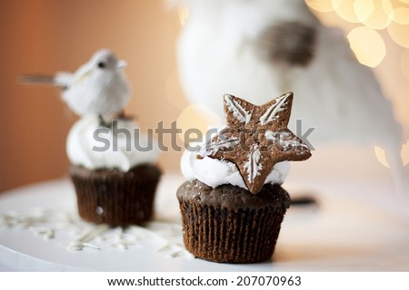 Christmas cookies. Small depth of field on cookie star shape. - stock photo