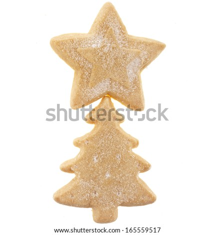christmas cookies surface  top view close up macro shot isolated on a white background - stock photo