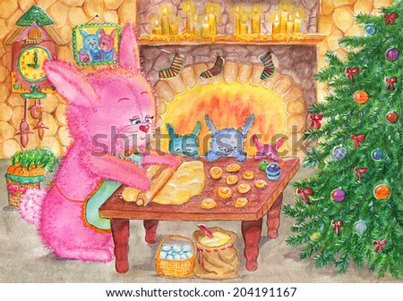 Christmas cookies. Watercolor illustration of the rabbit family preparing for Christmas - stock photo