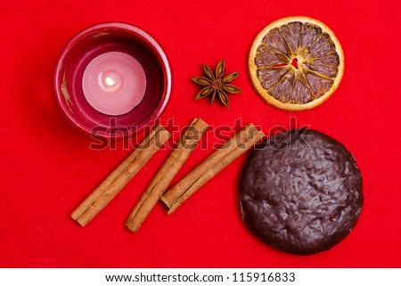Christmas cookies with balls and spices - stock photo