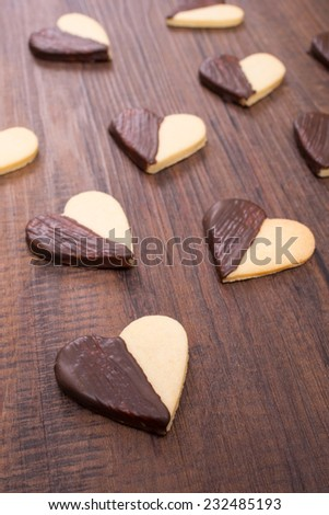 Christmas cookies with chocolate in vertical format - stock photo