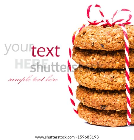 Christmas cookies with festive decoration isolated  on white background (with easy removable sample text)  - stock photo