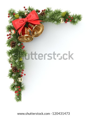 Christmas corner from the decorated  fir tree branches. - stock photo