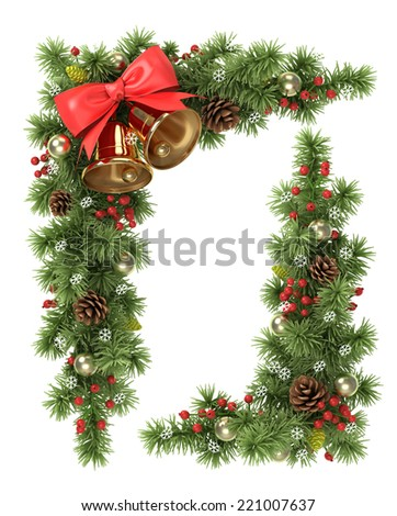 Christmas corners from the decorated  fir tree branches. - stock photo