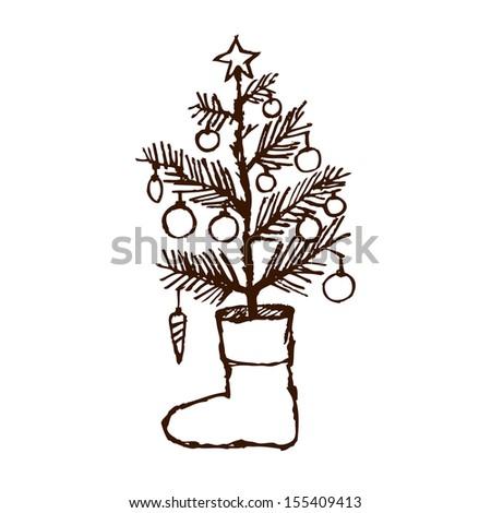 Christmas creative hand drawn fir tree & sock for xmas design. raster illustration  - stock photo