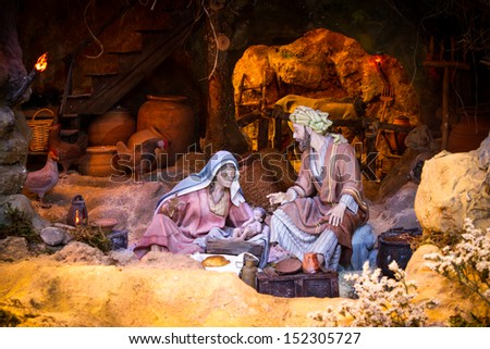 Christmas creche with Joseph and Mary - stock photo