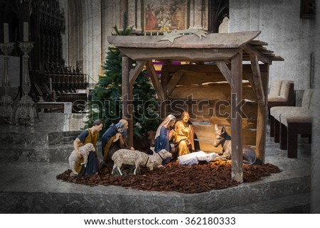 Christmas crib, before Christmas, the crib is empty - stock photo