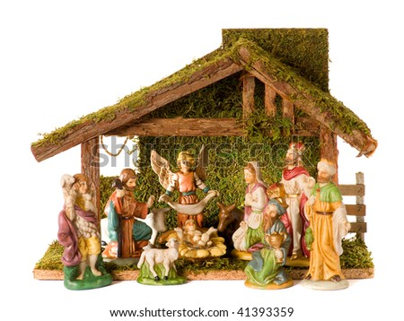 Christmas Crib isolated on the white background - stock photo
