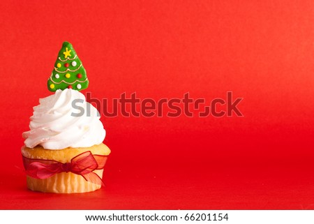 Christmas cupcake - stock photo