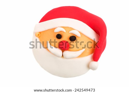 Christmas cupcakes on white background - stock photo