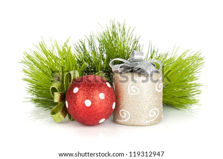 Christmas decor and firtree. Isolated on white background - stock photo