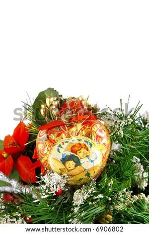 Christmas decor in white background - stock photo
