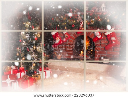 Christmas decorated fireplace and tree in the room - view throw the window, outdoor - stock photo
