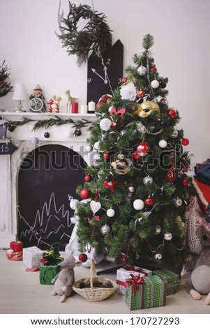 christmas decorated room    christmas decorated room  - stock photo