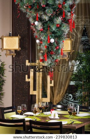 Christmas decorated table - stock photo