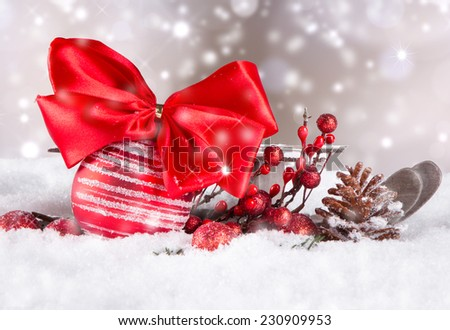 Christmas decoration, ball , sledge on snow with abstract background  - stock photo