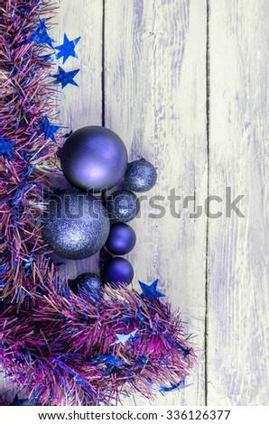 Christmas decoration balls hanging on Christmas tree - stock photo