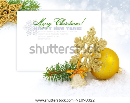 Christmas decoration baubles on white with space for text - stock photo