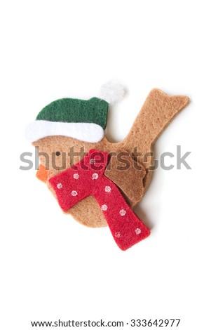Christmas decoration, bird made in felt - stock photo