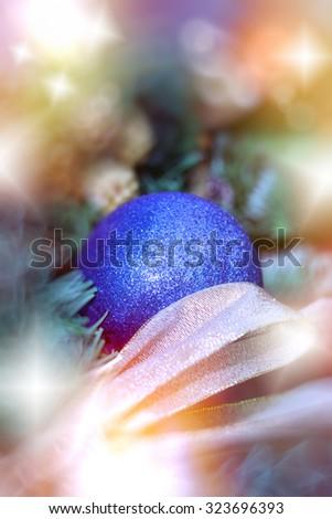 Christmas decoration - blue bauble ( xmas ball) - stock photo