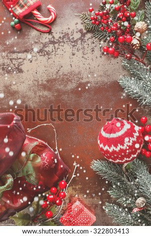 Christmas Decoration. Christmas background with Christmas decorations on rustic background. Vintage style with blank space - stock photo