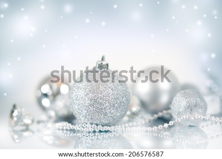 Christmas decoration. Christmas balls on blue background - stock photo