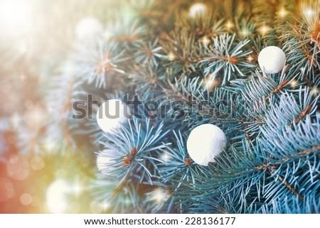 Christmas decoration - Christmas balls (snowballs) on Christmas tree - stock photo