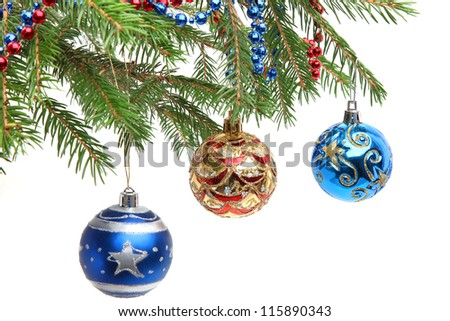 Christmas decoration. Close up of the christmas decoration on the christmas tree branch. - stock photo