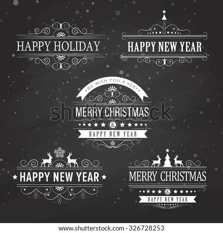 Christmas decoration collection of calligraphic and typographic elements on black with frames, vintage labels. Ribbons, stickers, Santa and angel. Hand drawn christmas balls, fur tree branches - stock photo