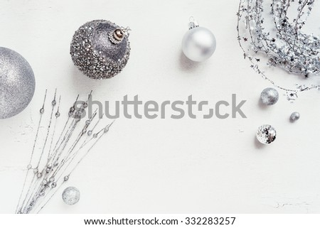 christmas decoration colour themes: Silver with copyspace - stock photo
