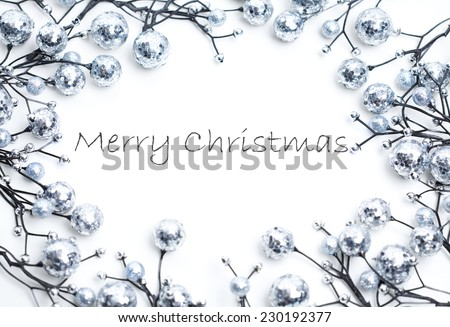 Christmas decoration, copy space, isolated on white. Useful as a christmas card.  - stock photo