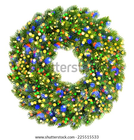 christmas decoration evergreen wreath with colorful lights and stars isolated on white background - stock photo