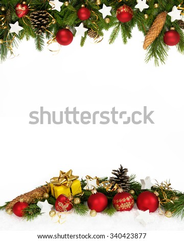 Christmas decoration  four-fifths with balls, stars, cones and gift on white background.. - stock photo