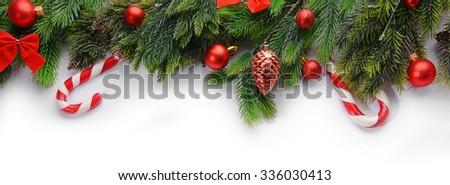 Christmas decoration frame isolated on white - stock photo