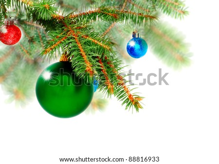 Christmas decoration-glass  ball on fir branches.Isolated - stock photo
