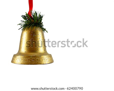 Christmas decoration golden bells - stock photo