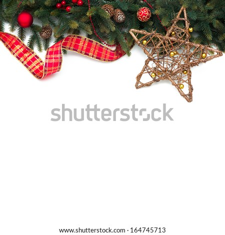 Christmas decoration Holiday decorations isolated on white background - stock photo