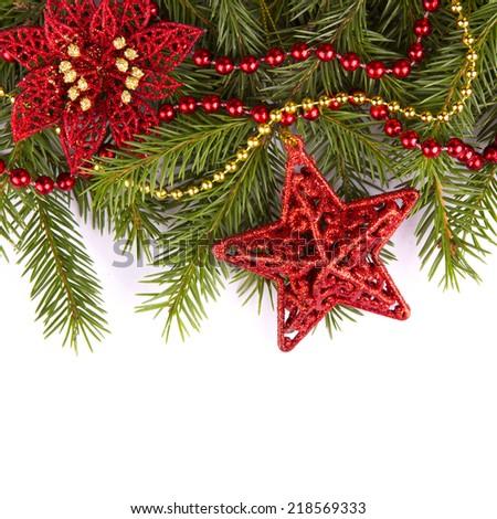 Christmas Decoration Holiday Decorations Isolated on White Background - stock photo