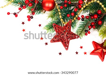 Christmas Decoration. Holiday Decorations Isolated on White Background - stock photo